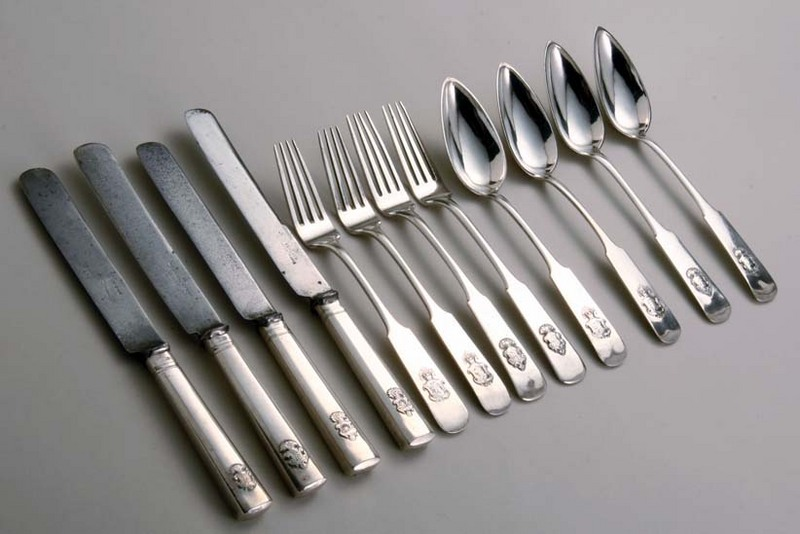 Russian Crested Silver Flatware Set (4 each of tablespoons forks and knives) · enlarge. Russian Flatware & Leopard Antiques Russian Crested Silver Flatware Set (4 each of ...