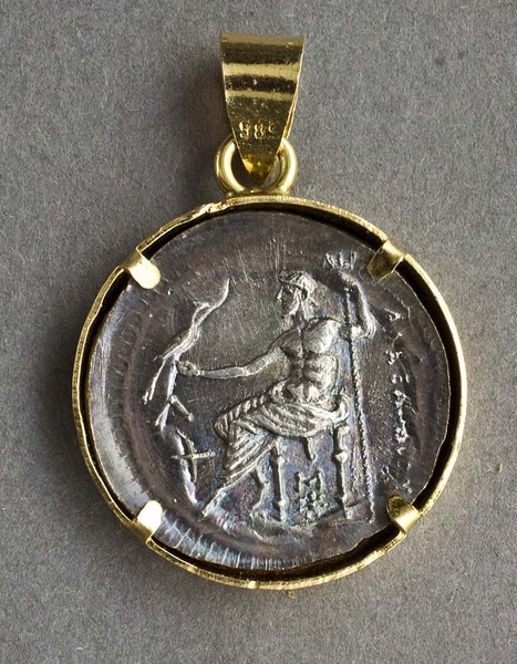 Leopard antiques alexander the great greek silver coin pendant in 14 alexander the great greek silver coin pendant in 14 carat gold bezel drachm amphipolis mozeypictures Images
