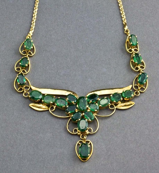 Leopard antiques brazilian emerald and 14 carat gold necklace brazilian emerald and 14 carat gold necklace aloadofball Choice Image