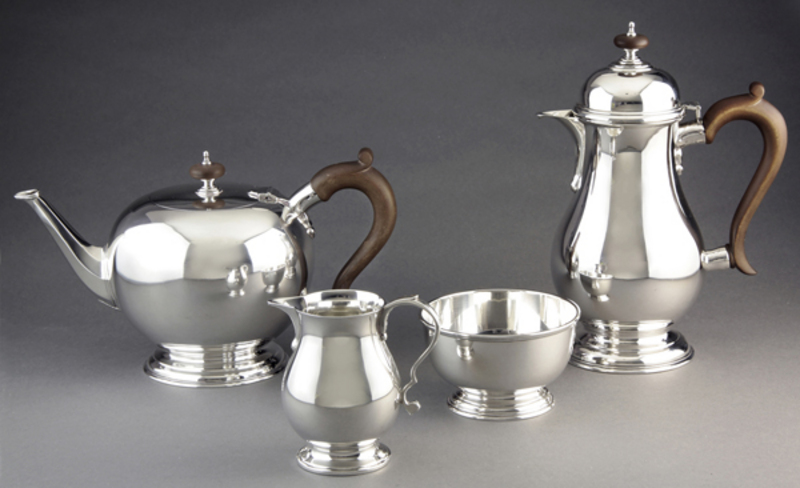 Leopard Antiques Early Georgian Reproduction Silver Tea Set