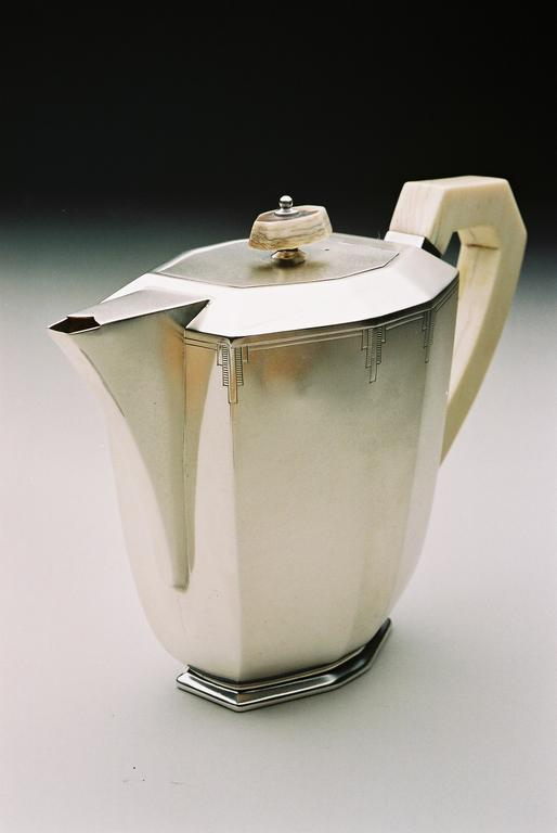 Leopard Antiques Art Deco Silver Tea Service 4 Piece