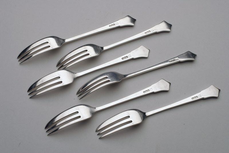 Art Deco Cake Forks : Leopard Antiques Art Deco Cake Forks (set of 6)